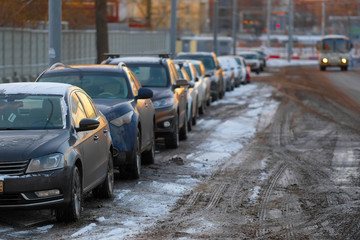 Moscow, Russia - November, 29, 2018: cars on a parking in Moscow