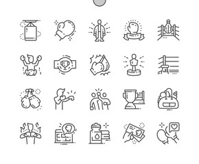 Boxing Well-crafted Pixel Perfect Vector Thin Line Icons 30 2x Grid for Web Graphics and Apps. Simple Minimal Pictogram