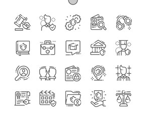 Jurisprudence Well-crafted Pixel Perfect Vector Thin Line Icons 30 2x Grid for Web Graphics and Apps. Simple Minimal Pictogram