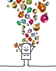 Cartoon Woman Throwing Up a Colorful Christmas Balls Set