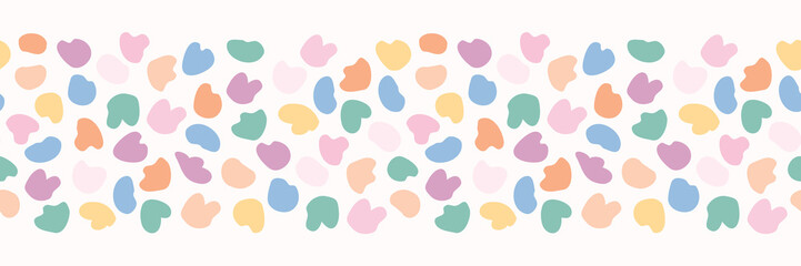 Bright Confetti Fun Polka Dots Seamless Vector Border. Allover Dotty Texture for Kids Style Childish Home Decor, Trendy Nursery Banner, Baby Girls Fashion Trim, Edging, New Baby Stationery Packaging.