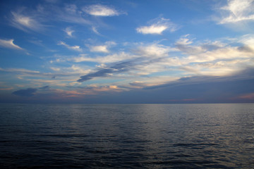 Bright scenic sunset view, Baltic Sea, Palanga coast, Lithuania