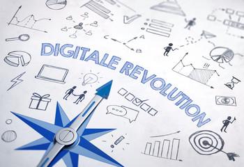 Digitale Revolution  - Kompass und Icons