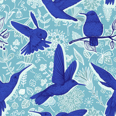 Foto op Aluminium Botanisch Vector sketch pattern with Hummingbirds and flowers. Colorful design for web, wrapping paper, phone cover, textile, fabric