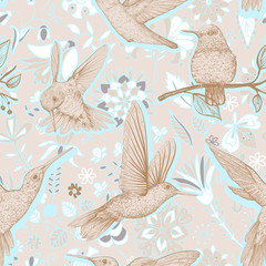 Foto op Canvas Botanisch Vector sketch pattern with Hummingbirds and flowers. Colorful design for web, wrapping paper, phone cover, textile, fabric
