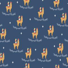 Christmas llama vector seamless pattern