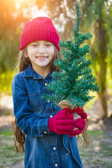 Cute Mixed Race Young Girl Wearing Red Knit Cap and Mittens Holding Small Christmas Tree Outdoors