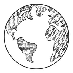Earth drawing on white background.