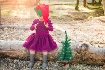 Cute Mixed Race Young Baby Girl Having Fun With Christmas Hat and Tree Outdoors