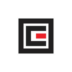 leter ce square geometric logo brand