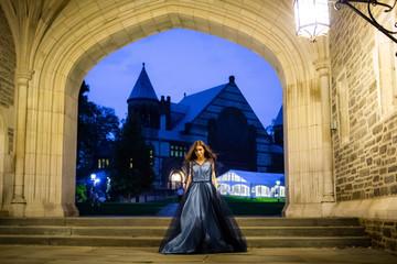 Beautiful lady wearing fashion dress in castle
