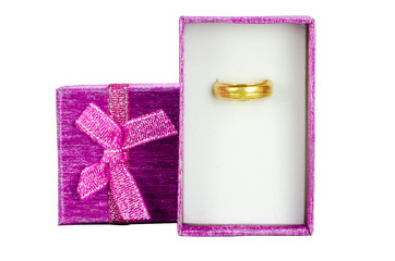 Pink Gift Box with gold ring  on White background,Clipping path.