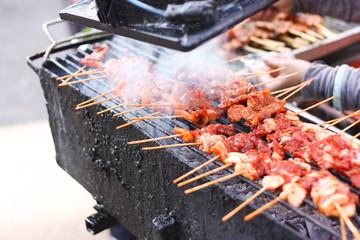 grilled pork on stick