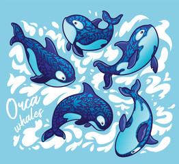Ocean animal Orca whale decoration floral art design
