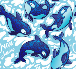 Seamless pattern with decorative orca whales. Vector illustration