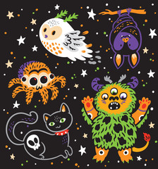 Halloween Holiday collection of cartoon animals. Vector illustration