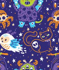 Happy halloween seamless background with cartoon animals. Vector illustration