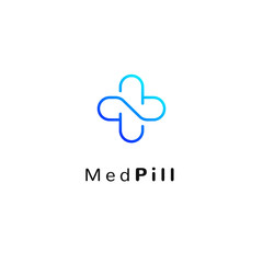 Flat medicine icon blue and green gradient  emblem logo, web online concept. Sign of pills, medical cross, pharmaceutical icon