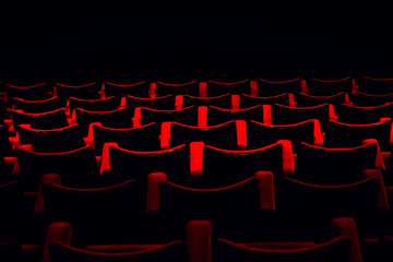 Red seats in the cinema.