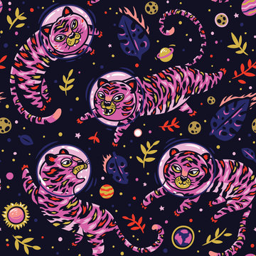 Vector seamless pattern with tigers astronauts in pink colors