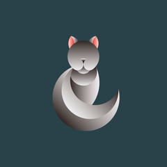 Gray cat geometrical animal design vector