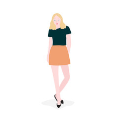 Strong woman full body vector