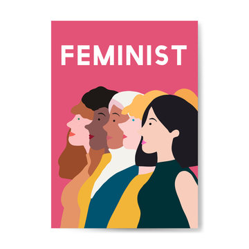 Female feminist standing together vector