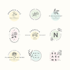 Set of botanical logo design vectors