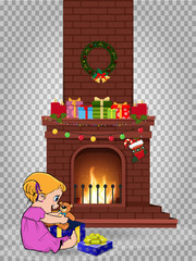 baby girl open gift near decorated christmas fire place clip art