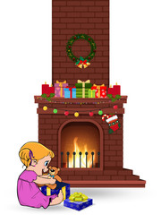 baby girl open gift near decorated christmas fire place on white