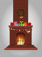 Cartoon decorated burning fireplace with many gifts on clip art
