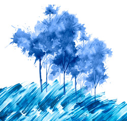 Watercolor illustration of blue forest. Group of blue trees in winter, grove, garden. Landscape winter. Isolated on white background. Aspen, maple, bushes winter forest. Wild grass in the wind.