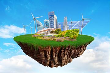 Floating City Island With Sustainable Ecological Renewable Energy Symbols