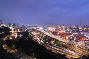 Kwai Tsing Container Terminals and highway hK