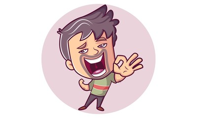 Vector cartoon illustration of man angry face and hand expression . Isolated on white background.