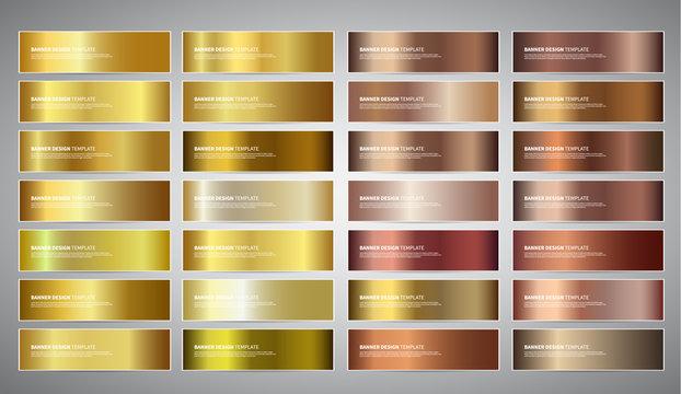 Vector Banners with gold and bronze gradient backgrounds