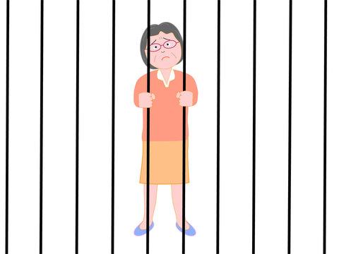 監禁されたシニアの女性