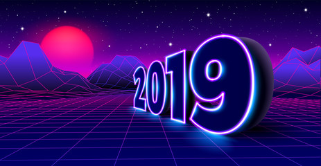 2019 neon sign for 80s styled retro New Years Eve celebration with arcade game grid landscape and purple sun