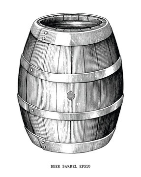 Beer barrel hand draw vintage engraving style isolated on white background