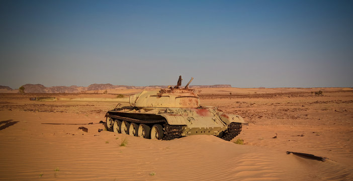 Place of the battle at Bir Kora during the Chadian Libyan conflict aka Toyota War at 1987 in Ennedi, Chad