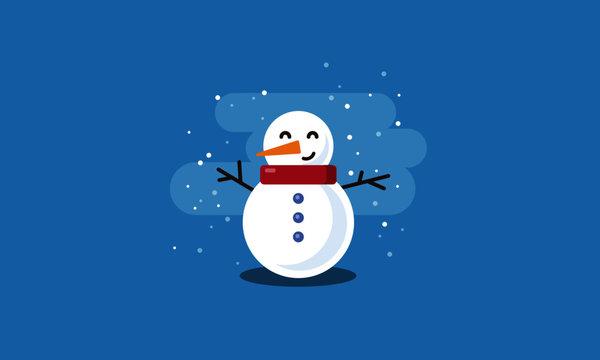 Snowman Vector Illustration in Flat Style Design