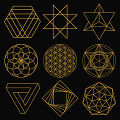 Sacred Geometry. Set of nine figures. Vector illustration.