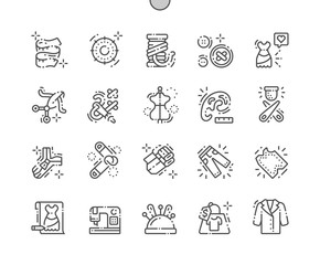 Sewing Well-crafted Pixel Perfect Vector Thin Line Icons 30 2x Grid for Web Graphics and Apps. Simple Minimal Pictogram