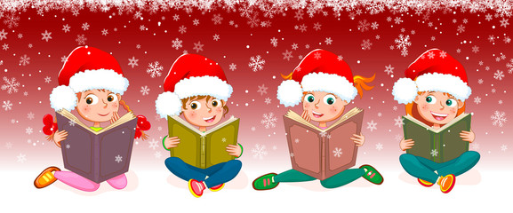 Kids with books for Christmas. Little girls read books