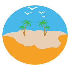 Circle vector illustration of tropical island with palm trees