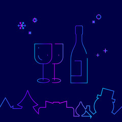 Alcohol, Wine, Festive Dinner Vector Line Icon. Christmas and New Year Gradient Symbol, Pictogram, Sign. Dark Blue Background. Light Abstract Geometric Background. Related Bottom Border