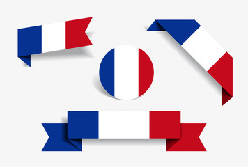 French flag stickers and labels. Vector illustration. Fotomurales