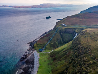 Aerial view of the very steep sea cliffs at Bearreraig Bay - Isle of Skye , Scotland