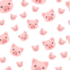 vector seamless cartoon flat pink pig 2019 new year symbol pattern isolated on white background