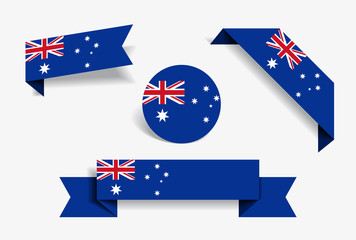 Australian flag stickers and labels. Vector illustration.